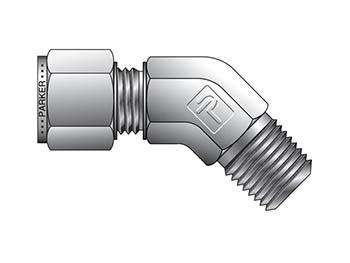 VBZ 12-3/8-SS CPI Metric Tube NPT Male 45° Elbow - VBZ