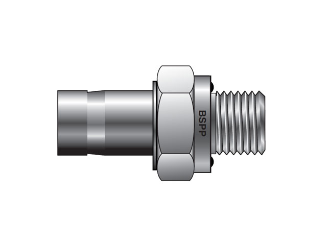 M6MA1/4R-ED-S A-LOK Metric Tube BSPP Tube End Male Adapter with ED Seal - M MA R-ED